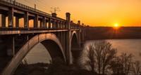 Мост Преображенского через Днепр на Хортицу в Запорожье