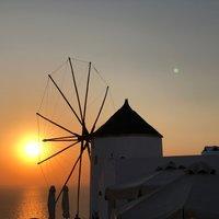 Апрельский закат в Ие, Санторини